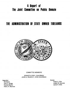 Cover of the 1974 report on the Administration of State Owned Tidelands