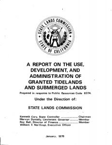 Cover of the 1976 report The Use, Development, and Administration of Granted Tidelands and Submerged Lands