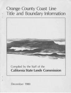 Cover of the 1980 Orange County Coast Line Title and Boundary Information Report