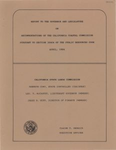 Cover of the Report to the Governor and Legislature on Recommendations of the California Coastal Commission Pursuant to Section 30404 of the Public Resources Code 1984