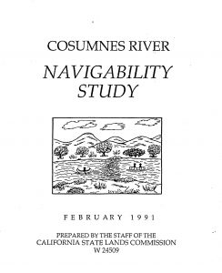 Cover of the 1991 Cosumnes River Navigability Study