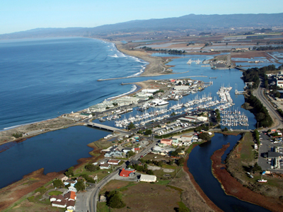 Aerial of the Town of Moss Landing N and S Harbors