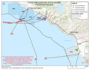 Map showing the area for tidelands lease 735 in Ventura County