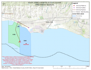 Map showing the area for tidelands lease 3120 in Santa Barbara County