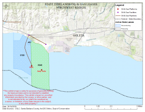 Map showing the area for tidelands lease 3242 in Santa Barbara County
