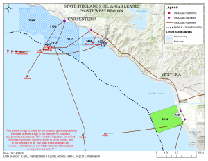 Map showing the area for tidelands lease 3314 in Santa Barbara County