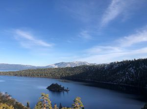 View of Lake Tahoe from a mountaintop on a clear day.