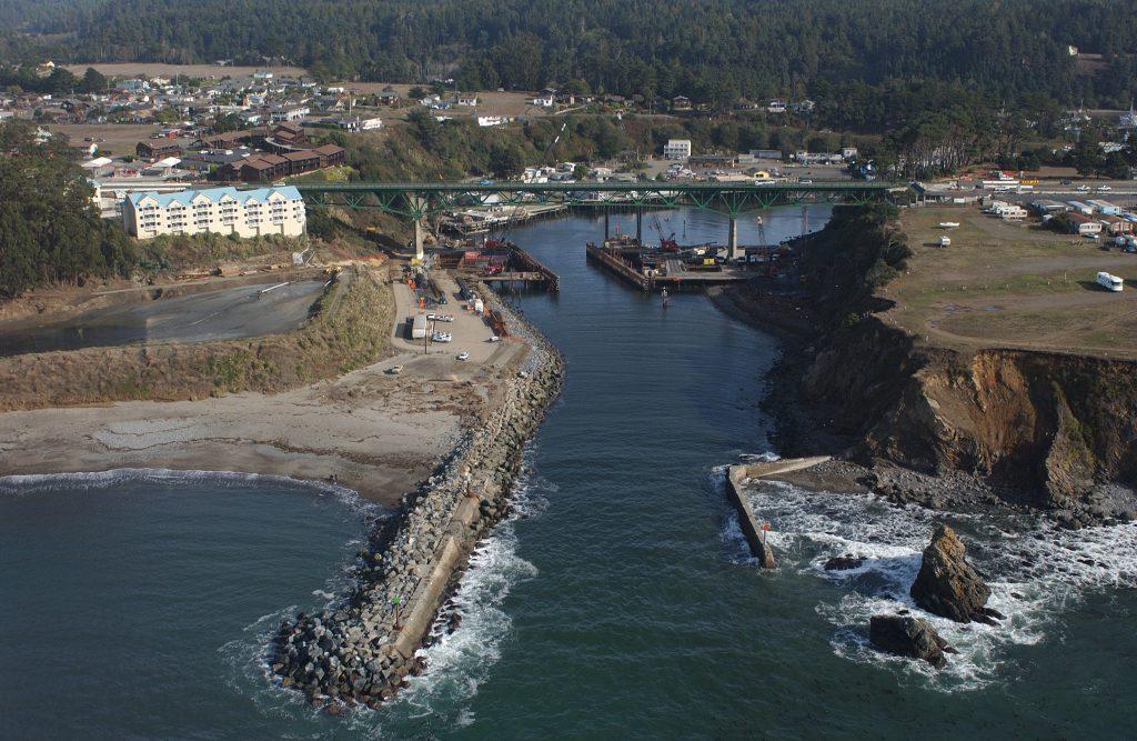 Aerial view of Noyo Harbor, Mendocino County.