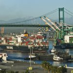 Container ships at the Port of Los Angeles.