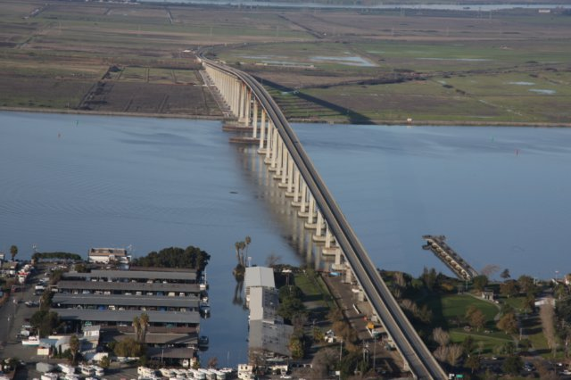 Aerial view of the Antioch Bridge.