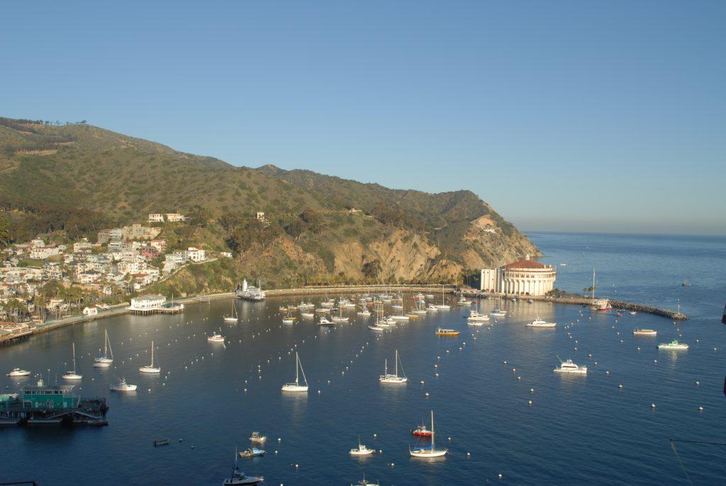 Aerial view of Avalon Harbor, Catalina Island.