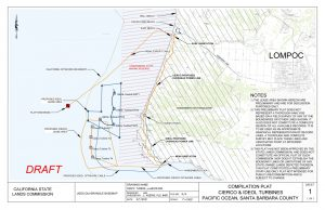 Compilation plat Cierco & Ideol turbines Pacific Ocean, Santa Barbara County NOTES 1) the lease area shown hereon are preliminary and are for discussion purposes only. NOTES 2) this preliminary plat does not represent a thorough analysis based on a field survey of any of the boundaries or other lines shown. It also does not constitute a complete search of all available records. It is to be used as an approximate graphical representation of record lines. A thorough and complete survey may place these lines and associated point at different locations. 3) this plat has not been approved by the State Lands Commission and does not constitute an official plat of such commission, nor does it establish the boundary lines or limitations of any state-owned lands depicted thereon. This plat constitutes a preliminary staff-use-only plat not intended for public use/consumption and is subject to change.