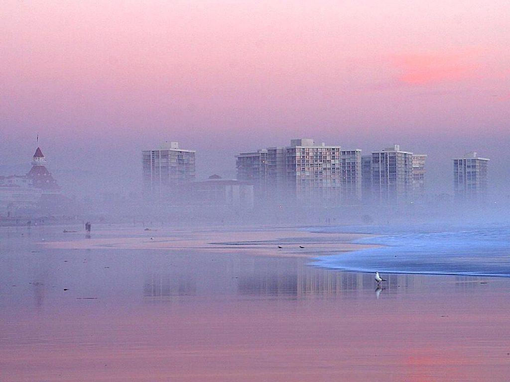 Foggy sunset along the beach in Coronado, California