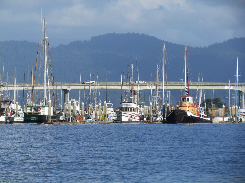 Looking east at the Woodley Island Marina with Highway 255 (Samoa Bride) in background.