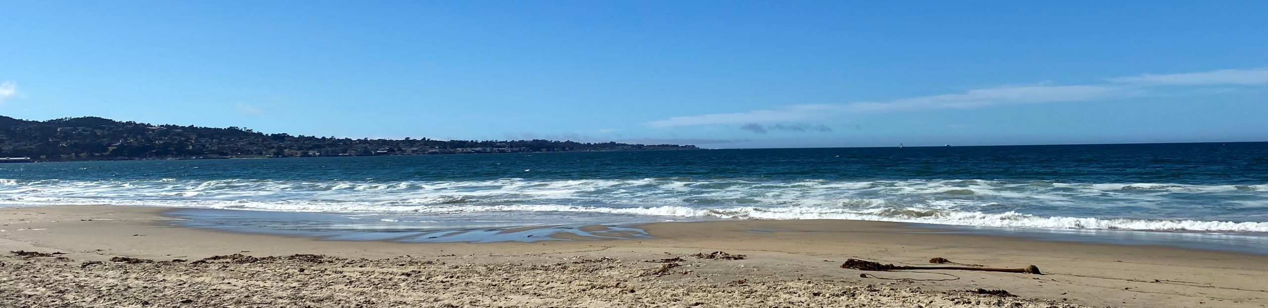 View of the Pacific Ocean from a sandy beach on a clear day.