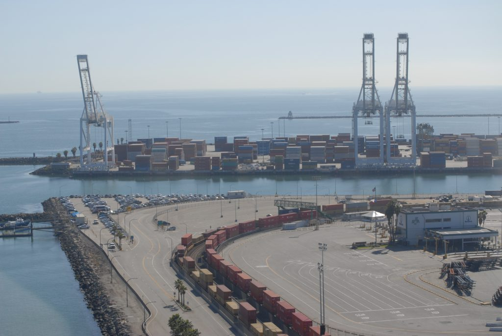 Looking out on the Port of Long Beach container lading area and the Pacific Ocean.
