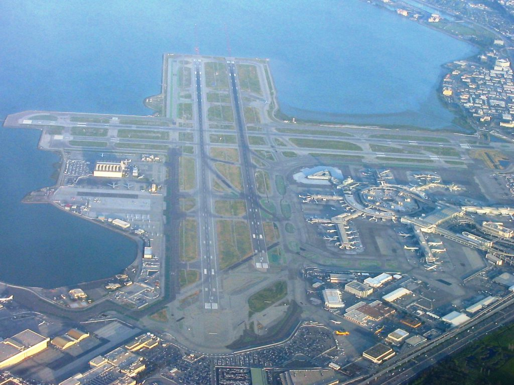 Aerial view of the San Francisco Airport