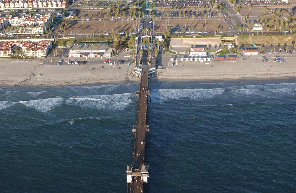 Aerial view of the Oceanside Pier, San Diego County.
