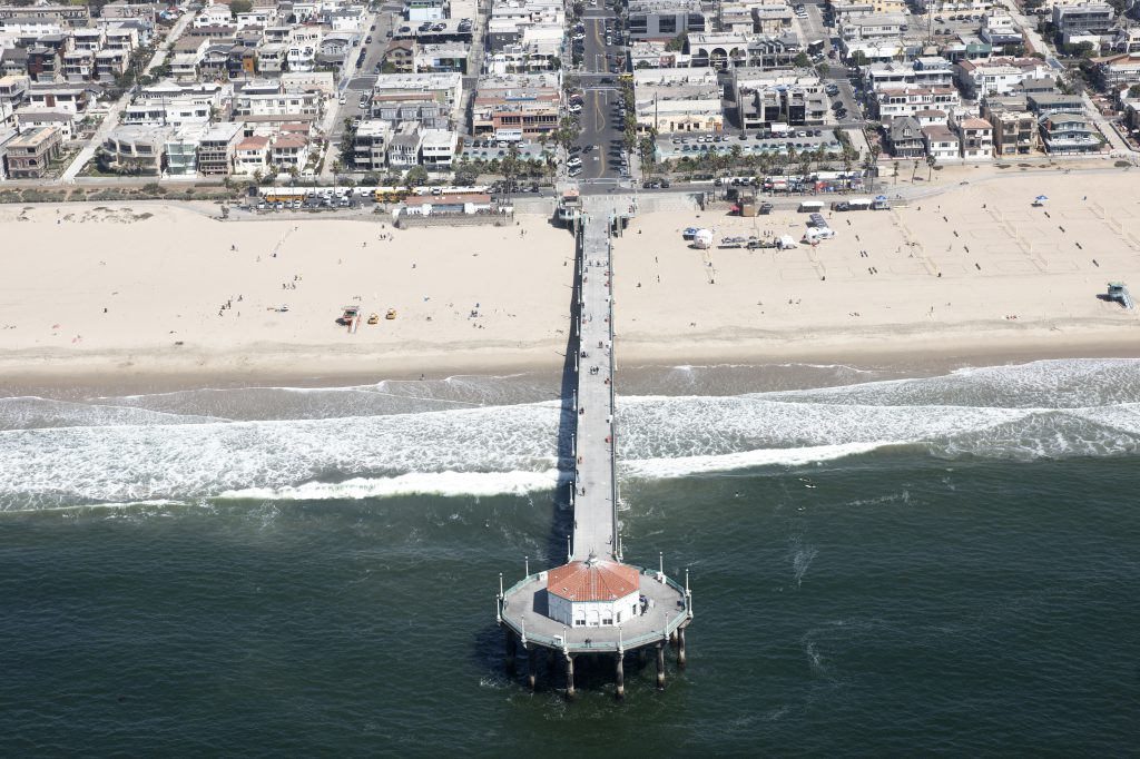 Aerial view of Manhattan Beach and Pier, Los Angeles County.