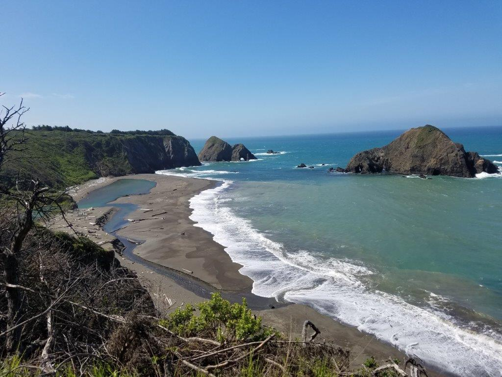 View of the Pacific Ocean and a beach North of Manchester, Mendocino County, California.