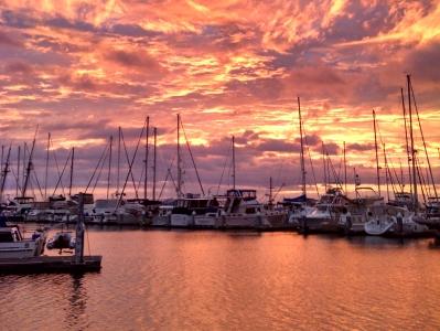 Brisbane Marina at sunset.